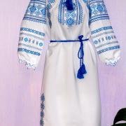 """Вишита жіноча сукня в українському стилі """"Блакитний сніг"""" фото"""