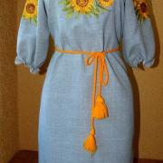 """Жіноча вишита сукня """"соняшники на полі"""" замовити"""