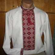 """Белая мужская вышиванка """"Козацкая"""" фото"""
