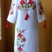"""заказать вышитое женское платье """"красная лилия"""""""