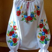 """Вышиванка для девочки """"Цветочные букеты"""" фото"""