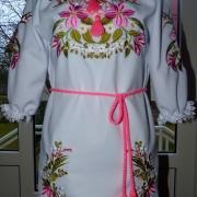 """Вышитое украинское платье """"цветочные мотивы"""" купить"""