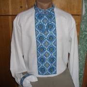 Вышитая мужская сорочка на домотканном полотне. Вышитая крестом мужская сорочка