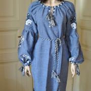 """Платье голубого цвета с цветочным узором """"Аля"""" купить"""