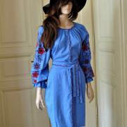 Голуба сукня з вишивкою придбати