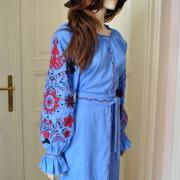 """Голубое платье с вышивкой """"Дерево рода"""" в стиле бохо"""