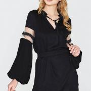 Однотонное платье свободного кроя из вискозы фото