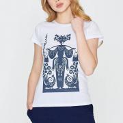 Ефектна трикотажна футболка з принтом фото