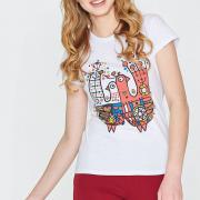 Ефектна футболка з принтом білого кольору фото