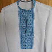 Украинская вышиванка мужская с длинным рукавом синяя
