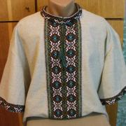 Чоловіча вишиванка льон з коротким рукавом