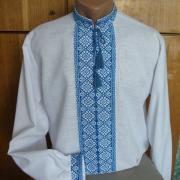 Біла чоловіча вишиванка з блакитною вишивкою замовити