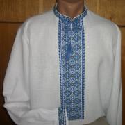 Чоловіча вишиванка для чоловіків блакитний орнамент