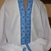 Мужская вышиванка с голубым орнаментом купить Киев