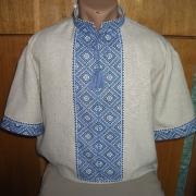 Мужская вышитая сорочка на домотканом полотне