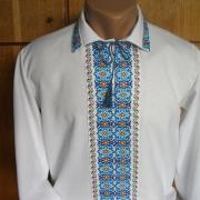 Белая мужская вышиванка с отложным воротничком