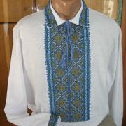 """Мужская вышиванка """"Подоляночка"""" с голубой вышивкой купить"""