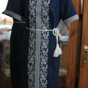 Темно-синее украинское платье с сокальской вышивкой фото
