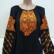 Чорна жіноча вишиванка з жовтою вишивкою
