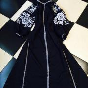 """Женское платье бохо на темно-синем льне """"Царица"""" фото"""