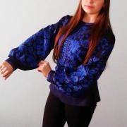"""Женская вышиванка на льне """"Голубые цветы"""" фото"""