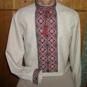 Красивая вышиванка украинская мужская лен