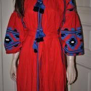 """Червона сукня вишиванка бохо """"Гіана"""" фото"""