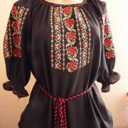Черная вышитая шифоновая блузка купить в Киеве