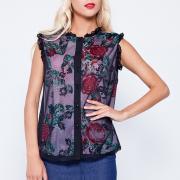 Украинская женская блузка с цветочным принтом купить Киев