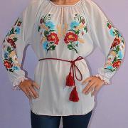 Шифоновая блуза вышиванка белого цвета купить