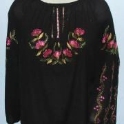 Жіноча вишита блузка з шифону чорна купити