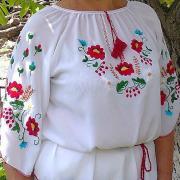 Женская шифоновая вышиванка белая купить