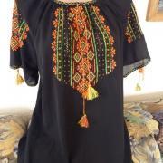 Чорна жіноча блузка з шифону з вишивкою купити Київ