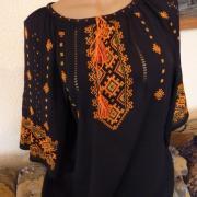 Черная женская вышиванка из шифона купить Киев
