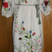 Сукня з вишивкою льон