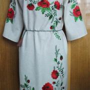 Купить вышитое украинское платье гладью