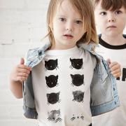 """Детская футболка с рисунком ручной работы """"Котята"""" фото"""