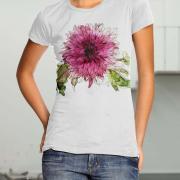 """Жіноча футболка ручного розпису """"Квіточка"""" фото"""