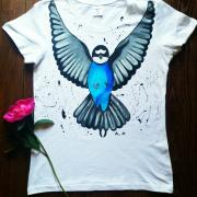 """Жіноча футболка ручного розпису """"Синій птах"""""""" фото"""