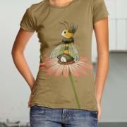 """Жіноча футболка ручного розпису """"Кролик або бджілка"""" фото"""