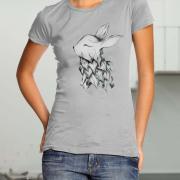 """Жіноча футболка ручного розпису """"Кролик фото"""