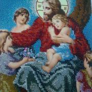 """Вышитая бисером икона """"Иисус Христос благословляет детей"""" купить"""