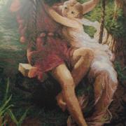 """Вышитая картина """"Влюблённые на качели"""" купить"""