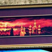"""Вишита хрестиком картина """"Вечірній Київ"""""""