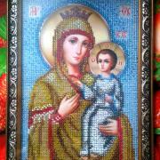 """Икона вышитая бисером """"Богородица избавительница от бед"""" купить"""