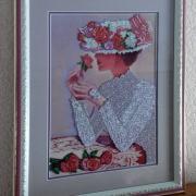 """Картина вишита бісером """"Дама в капелюсі"""" купити"""