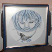 """Вишита картина хрестиком """"Дівчинка і метелик"""""""