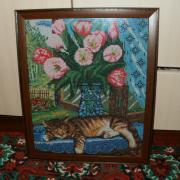 """Вышитая картина """"Кот возле окна"""" купить"""