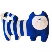 Синий полосатый кот подушка ручной работы