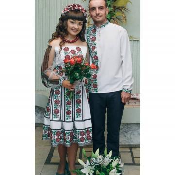"""Вышитое платье с евросеткой """"Роза-Мимоза"""""""